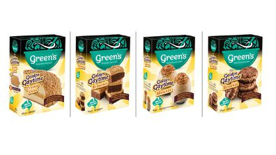 All the new Golden Gaytime X Green's packet cakes