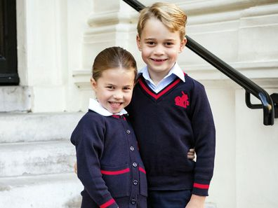 Princess Charlotte and Prince George before Charlotte's first day of school