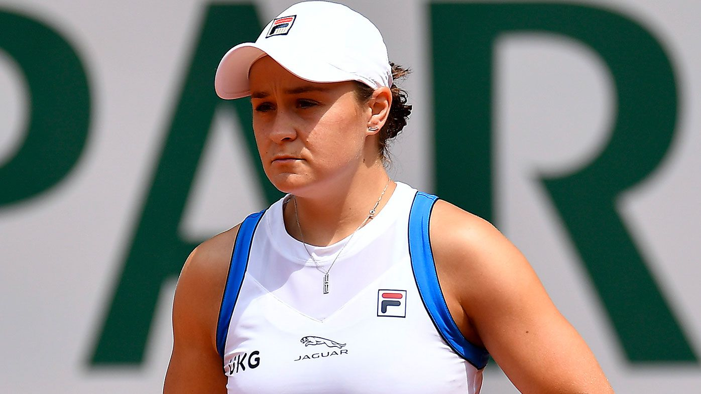 Ashleigh Barty of Australia looks on during her women's second round match against Magda Linette of Poland during day five of the 2021 French Open at Roland Garros on June 03, 2021 in Paris, France. (Photo by Aurelien Meunier/Getty Images)