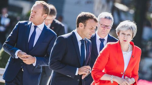 President of the European Council Donald Tusk, French President of the Republic Emmanuel Macron and British Prime minister Theresa May.