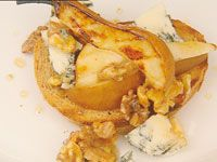 Barbecue pears, honey walnuts & blue cheese