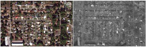 This photo combo of satellite images provided by DigitalGlobe shows Long Point Park Highway 98 in Panama City, Fla., on Nov. 17, 2017, left, prior to Hurricane Michael and on Oct. 11, 2018.