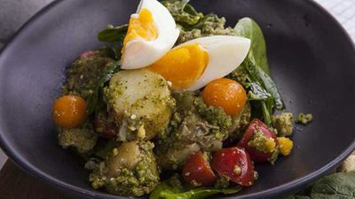 """An Aussie barbecue isn't the same without a potato salad - try<a href=""""http://kitchen.nine.com.au/2016/09/23/09/57/zoe-bingley-pullins-pesto-potato-and-egg-salad"""" target=""""_top"""">Zoe Bingley-Pullin's pesto, potato and egg salad</a>recipe"""