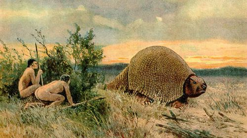 An impression of the glyptodon. (Heinrich Harder / The Wonderful Paleo Art of Heinrich Harder)