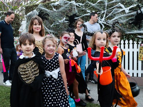 Halloween. Trick Treaters in Willoughby. 31st Oct 2019.