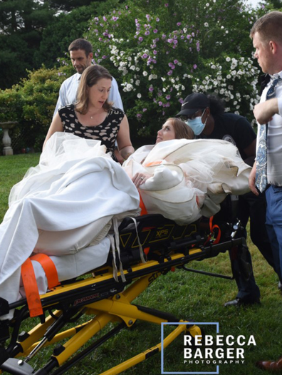 She was transported to her local hospital emergency room for treatment with her new husband by her side.