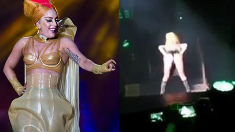 Watch: Lady Gaga flashes bum on stage, hits back at Madonna