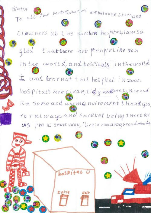 Staff at Melbourne's Northern Hospital are trying to track down the child who wrote this letter. (Supplied)
