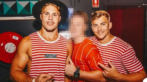 Callan Sinclair (R) has been charged with aggravated sexual assault, the same as co-accused Jack de Belin (L).