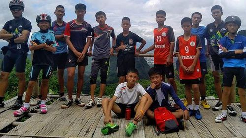 The 12 boys and their coach were found alive on Monday night. Picture: AAP