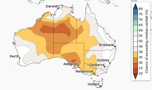 The chance of above median for March to May. (Bureau of Meteorology)