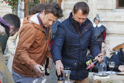 Jamie Oliver and Jimmy Doherty filming a scene for Jamie's and Jimmy's Food Fight Club.