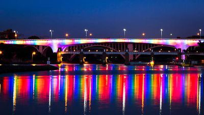 The Minneapolis Bridge was lit up for same-sex marriage supporters in Minnesota. (Twitter)