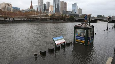 A flooded ferry terminal on the Yarra. (AAP)