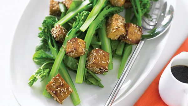 Sesame tofu and broccolini salad