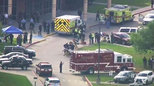 This image taken from video shows the campus of Santa Fe High School after a mass shooting earlier this year.