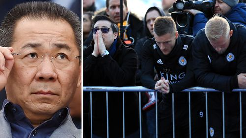 Devastated Leicester City stars Jamie Vardy and Kaspar Schmeichel were seen among the mourners with Mr Srivaddhanaprabha's son.