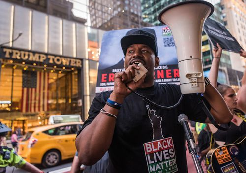 Black Lives Matter alongside faith leaders and activists demand police and political reforms in a march from Harlem to Trump Tower in New York City, on August 11, 2019.