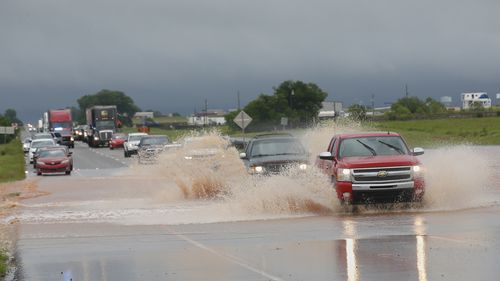 Floodwater on US Highway 66 in El Reno, Oklahoma.