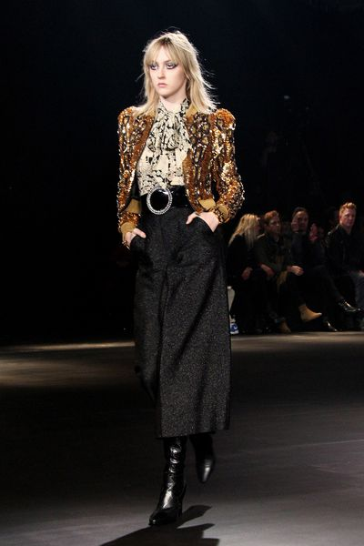 "<p>Saint Laurent showcased a collection inspired by Californian culture and Hedi Slimane's love of music at Hollywood's iconic Palladium overnight. The runway also boasted a <a href=""http://honey.ninemsn.com.au/2016/02/11/15/44/fashion-and-music-worlds-collide-at-saint-laurent-at-the-palladium"" target=""_blank"">star-studded front row of musicians</a> including Justin Bieber, Lady Gaga, Lenny Kravtiz and Courtney Love.&nbsp;</p><p>&nbsp;</p>"