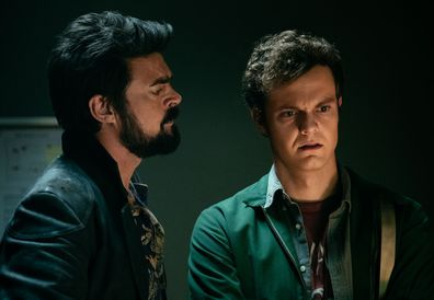 Karl Urban as Billy Butcher and Jack Quaid as as Hughie Campbell on The Boys.