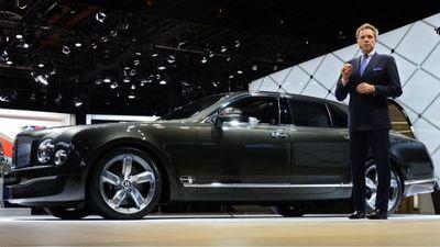 Bentley CEO Wolfgang Durheimer introduces the new Bentayga SUV. (AAP)
