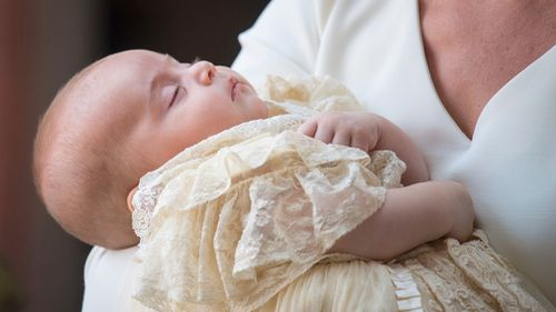 Prince Louis seemed to snooze through the service. Picture: AAP