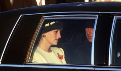 Diana in a car with Charles
