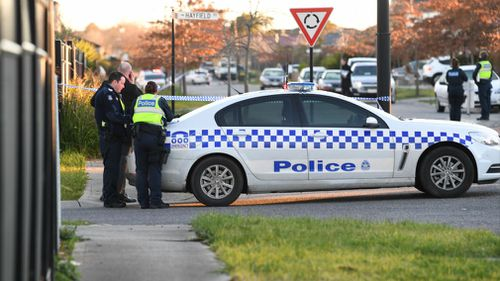 Victoria Police at the scene of a shooting at a home in Roxburgh Park, north of Melbourne. (AAP)
