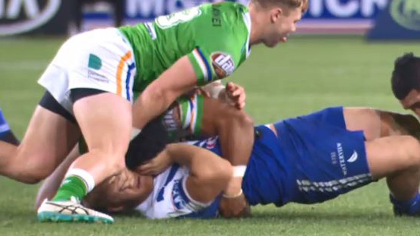 Canberra Raiders' Hudson Young facing seven-week ban for eye gouge on Aiden Tolman