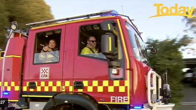 Firefighters, paramedics, and the SES turned to give Amelia their well wishes.