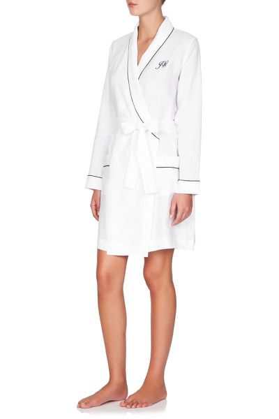 Jasmine and Will monogrammed linen robe, $149