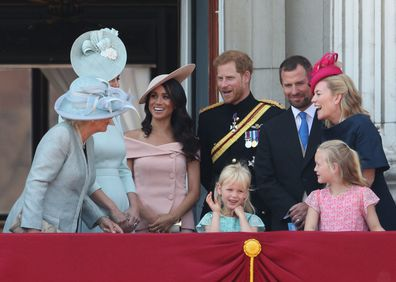 Phillips at Trooping the Colour with members of the royal family, estranged wife Autumn and children Savannah and Isla.