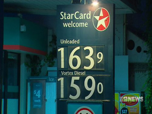 Some road-users are paying up to $1.63 per litre of petrol as a result of the price hike. Picture: 9NEWS.