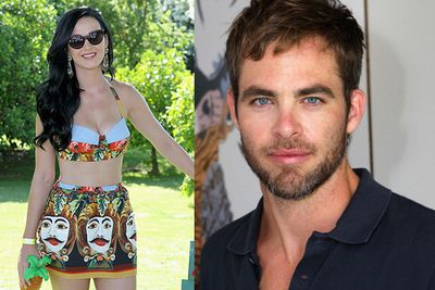Katy Perry was spotted chatting up <i>Star Trek</i> babe Chris Pine at Coachella's LACOSTE L!VE 4th Annual Desert Pool Party.