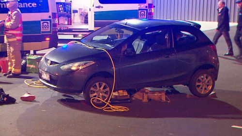 Witnesses came to the aid of the man in his 40s who was taken to hospital with serious injuries. Picture: 9News