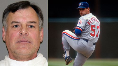 A mugshot of John Wetteland after his arrest and, right, a 1993 file photo when he played for Montreal Expos. (Getty).