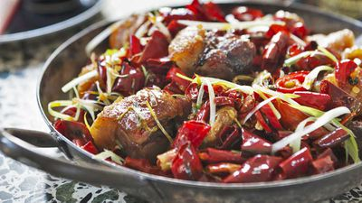 """Recipe: <a href=""""http://kitchen.nine.com.au/2017/06/27/14/20/andrew-mcconnells-ricky-pinky-hot-and-numbing-pork-hock"""" target=""""_top"""" draggable=""""false"""">Andrew McConnell's Ricky & Pinky hot and numbing pork hock</a>"""