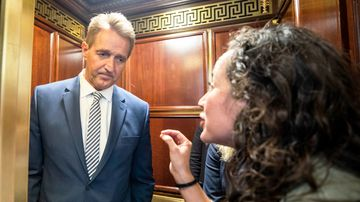 """Look at me and tell me that it doesn't matter what happened to me,"" 23-year-old Maria Gallagher said to Senator Flake."
