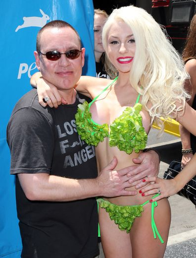 TV personality Courtney Stodden poses in a lettuce leaf bikini For PETA at Hollywood & Highland Center on July 31, 2013 in Hollywood, California.