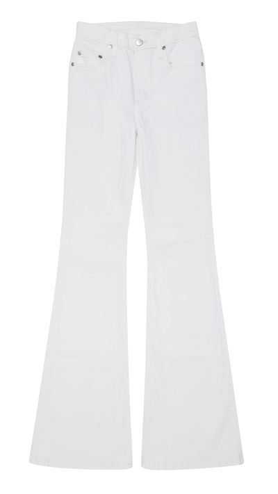 """<p>Any other white flared jeans might be intimidating, but Nobody Denim's fit where they should and stretch where you need it. They call it 'NewTech'; we call it """"Spanx in denim form"""".</p>"""