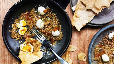 "<a href=""http://kitchen.nine.com.au/2016/05/16/12/21/quail-eggs-with-braised-onions-and-bottarga"" target=""_top"">Quail eggs with braised onions and bottarga</a>"