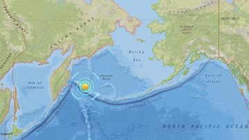 The earthquake struck near the far western tip of Alaska. (USGS)