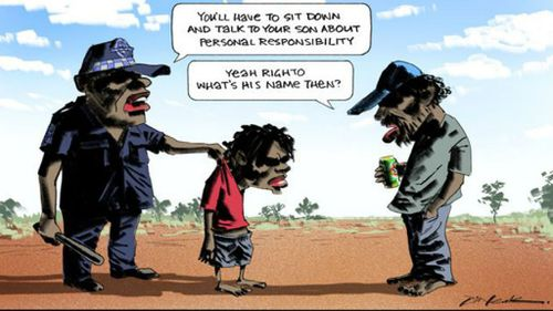 Newspaper defends 'racist' cartoon depicting Indigenous father and son