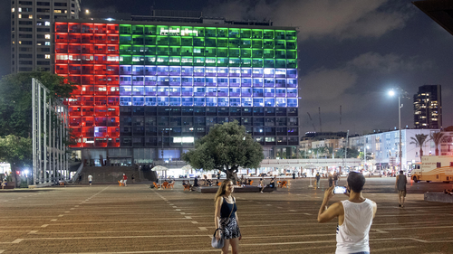 Tel Aviv City Hall lit up with the flags of the United Arab Emirates and Israel the countries announced they would be establishing full diplomatic ties, in Tel Aviv, Israel, Thursday, Aug. 13, 2020. (AP Photo/Oded Balilty)