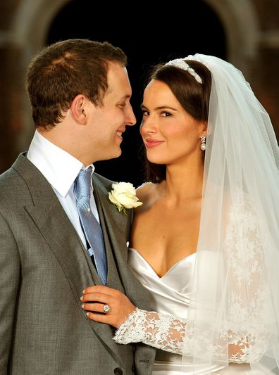 Lord Freddie Windsor poses with his bride Sophie Winkleman in the Base Court, minutes after their wedding.