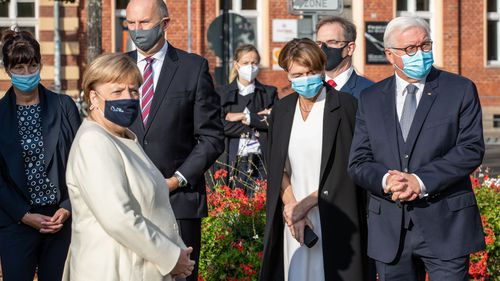 German President Frank-Walter Steinmeier, arrives with his wife Elke Buendenbender, German Chancellor Angela Merkel and Dietmar Woidke, President of the Federal Council, with his wife Susanne Woidke during an Ecumenical church service to mark the 30th anniversary of German reunification on October 03, 2020 in Potsdam, Germany