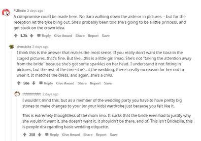 Response to bride flower girl tiara