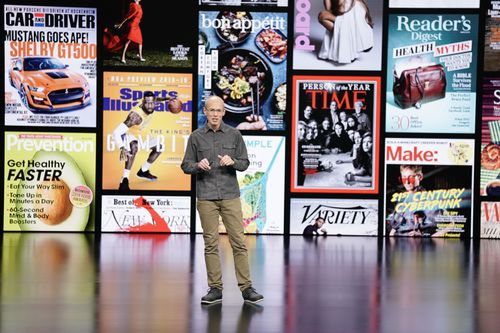 Apple vice president of applications Roger Rosner talks about the company's  news app. (AP Photo/Tony Avelar)