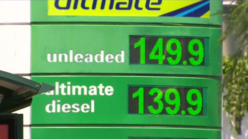 The price for fuel across Brisbane is hovering around a $1.50 per litre. (9NEWS)